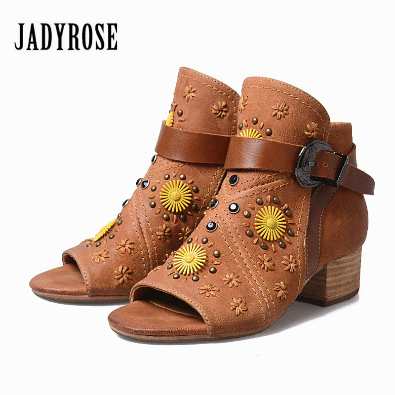 Jady Rose Women Autumn Boots Peep Toe Square Med Heel Ankle Boots Genuine Leather Rivets Studded Rubber Shoes Valentine Shoes