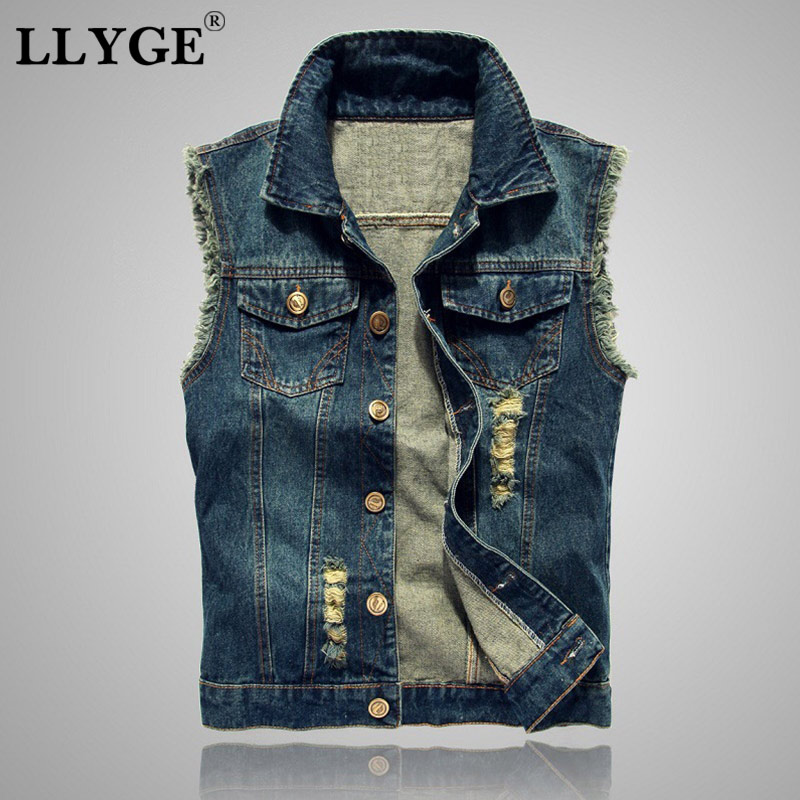 Mens Denim Jeans Vest Coat Ripped Tassel Pocket Sleeveless Jacket 6XL 2019 Fashion Male Streetwear Cowboy Waistcoat Jackets