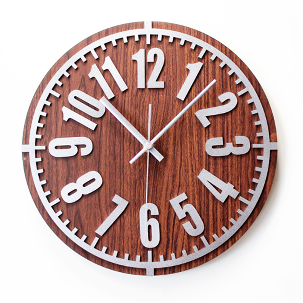 3D Digital Vintage Metal Texture Wall Clock European
