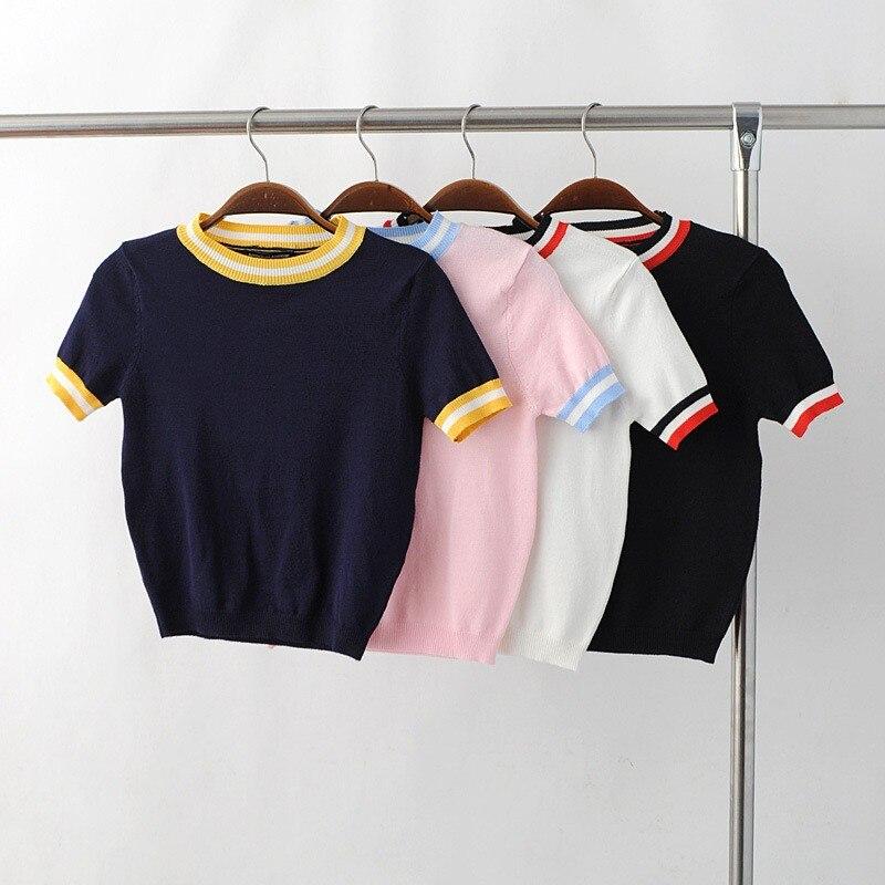 HTB1bUVALXXXXXatXpXXq6xXFXXX1 - Women Knitted Crop Tops O-neck Short Sleeve Sweaters Sexy Streetwear PTC 245