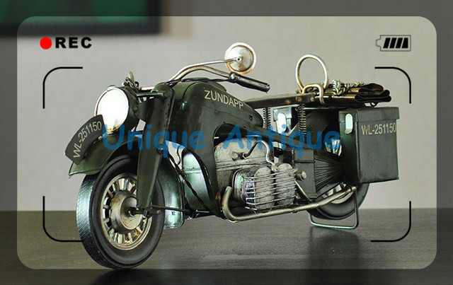 Handmade Vintage Metal Craft Retro Classic Zundapp Motorcycle Model Home Coffee Shop Pub Creative