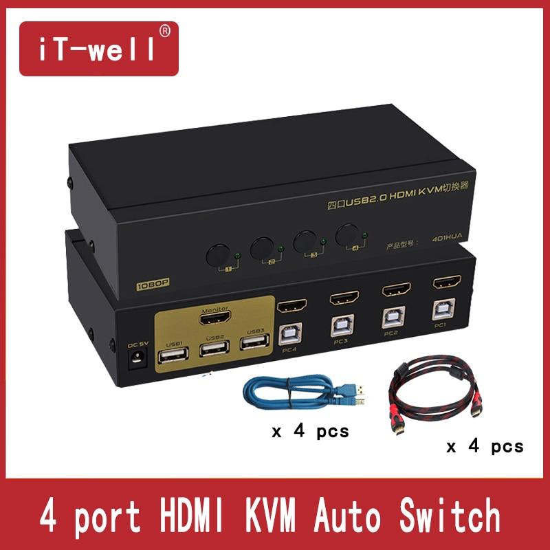 Commutateur HDMI iT-well commutateur 4 ports USB KVM 4 ordinateurs partagent un ensemble de clavier souris moniteur prise en charge Hotkey souris commutation