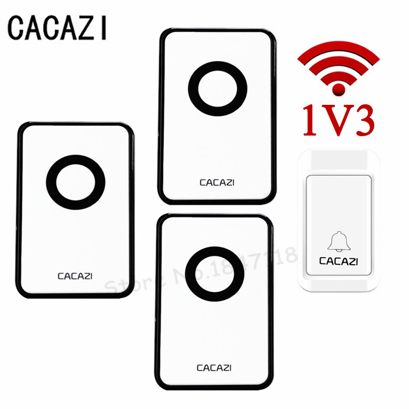 1 Transmitters+3 Receivers Digital Self Powered Doorbell Wireless Remote Long Distance AC220V No Need Battery Door Bell 1V3