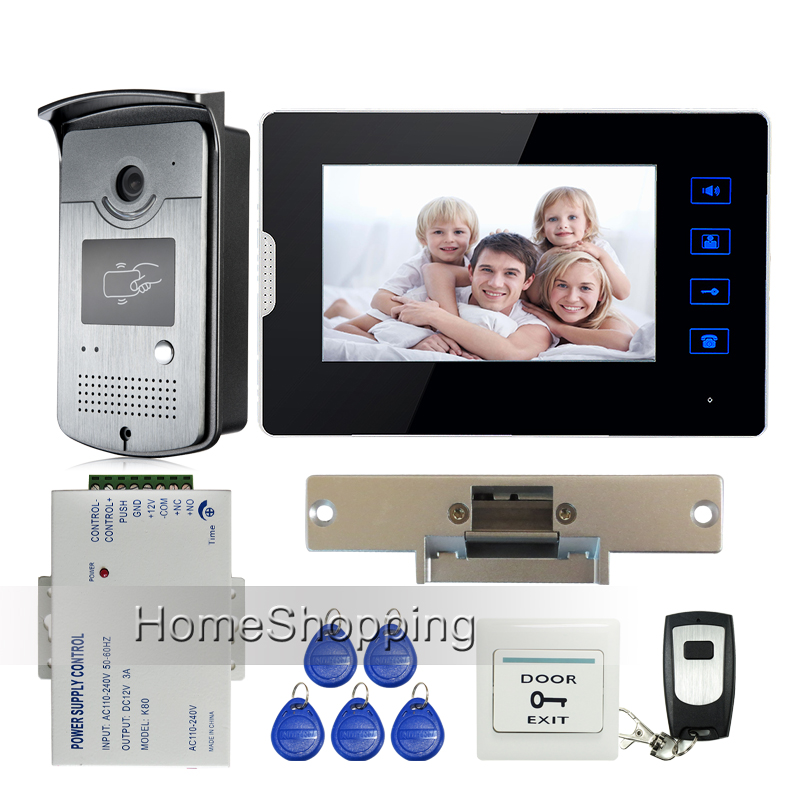 New 7 Touch Screen Video Door Phone Intercom + 1 Monitor + Waterproof RFID Access Camera + Electric Strike Door Lock FREE SHIP free shipping new 7 touch monitor video intercom door phone system waterproof rfid reader door camera electric strike slock