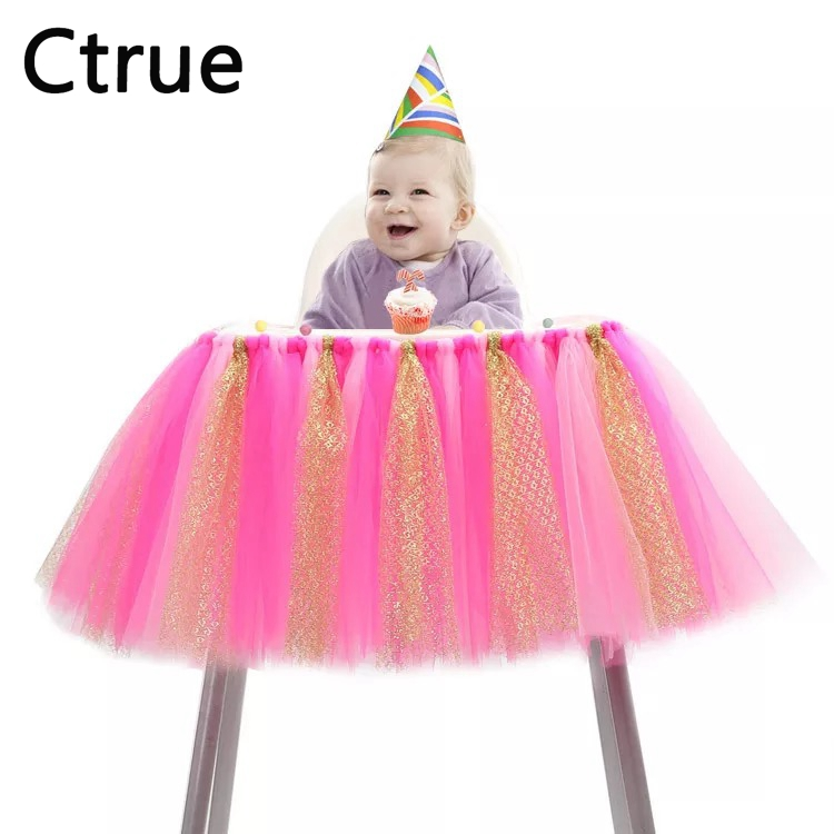 100CMx35CM Tulle baby chair skirt table High Chair skirt boy Baby Shower Decoration kids girl First Birthday party decorations