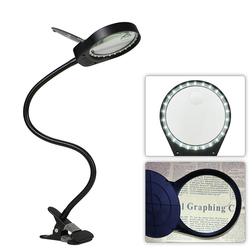 LED Magnifier Light 6000-7000K 5W Magnifier 3X 10X Large Lens Magnifying reading light For Reading Clip-on Table lamp