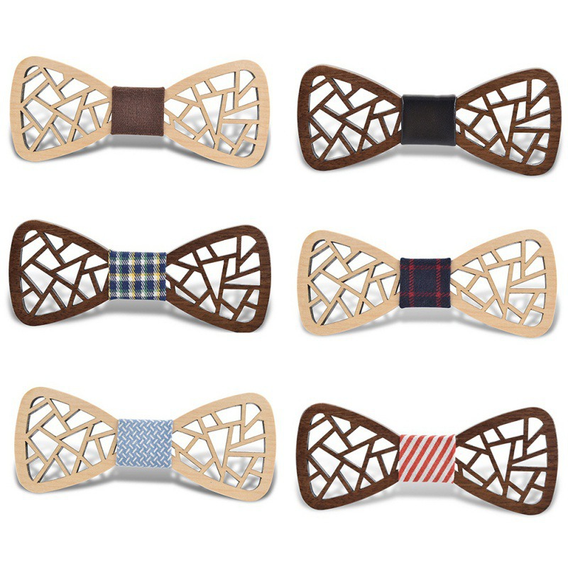 Carving Angel Wings Wooden Bow Tie Accessories Creative Wood Butterfly Wedding Party Decoration 2017 New