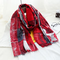 Abstract graffiti lattice control women scarf super cape temperament cotton and linen scarf dual - purpose holiday gifts