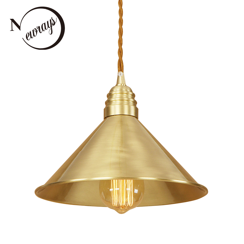 Loft Industrial Pure Copper Vintage Lamp Adjust Cord E27 LED Retro Hanging Pendant Lights For Kitchen Living Room Bedroom Bar copper retro loft vintage wall lamp