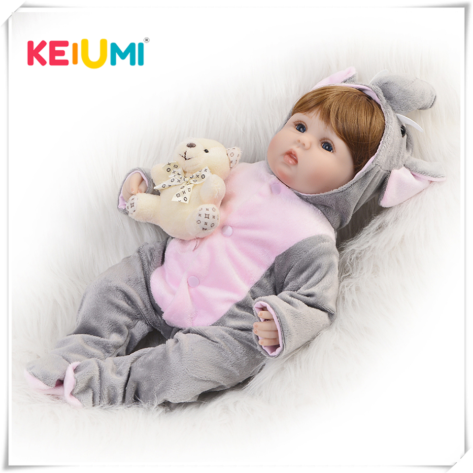KEIUMI Cosplay Elephant Reborn baby Dolls DIY Toys 16 inch Realistic Silicone Babies Doll Touch Soft