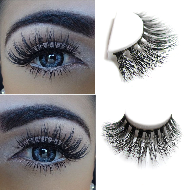453463252f8 New 1 pair MYKONOS 3D mink eyelash wholesale 100% real mink fur Handmade  crossing lashes D009 individual strip thick lash