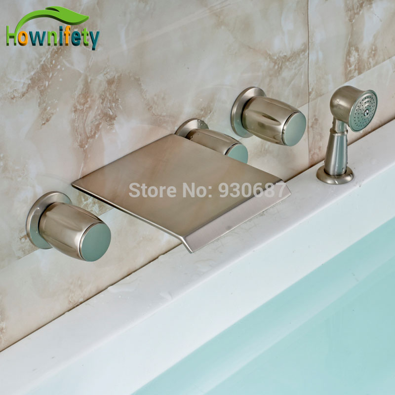 Brushed Nickel Bath 5pcs Tub Faucet Wall mounted Three Handles With Handshower