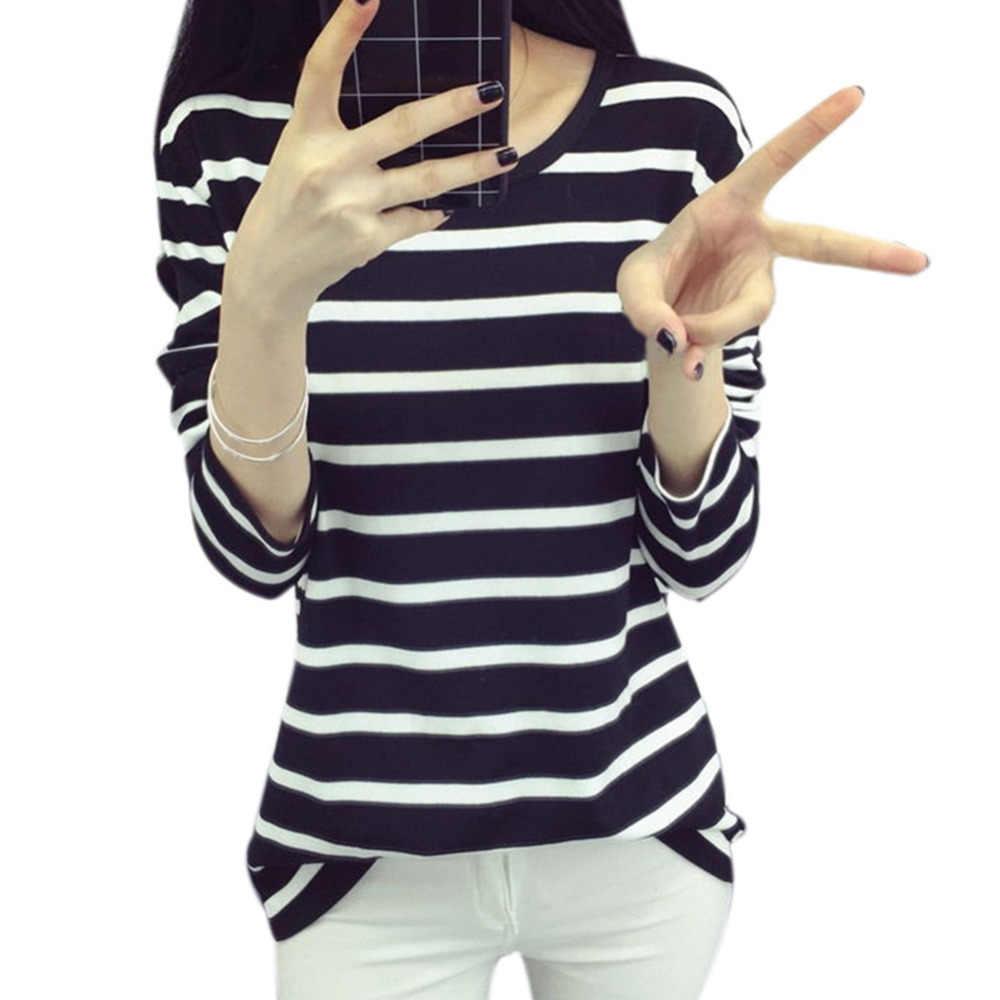 ฤดูใบไม้ร่วงสุภาพสตรีเสื้อลำลองเสื้อ hoodie Navy สีดำสีขาวลายบางด้านล่างเสื้อยืด