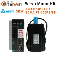 Delta 3kw 1500rpm 19.1Nm 180mm ECMA F11830RS SS + ASD B2 3023 B AC servo motor drive kit and 3M cable with with brake