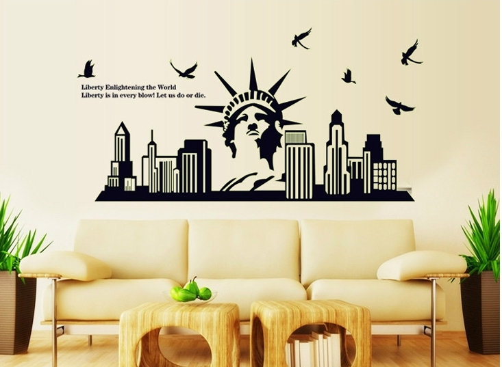 Fluorescent Black Liberty Statue Wall Stickers United States Poster Murals  Home Living Room School Sofa Sofa Background Decor In Wall Stickers From  Home ... Part 49