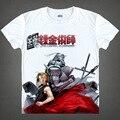 Fullmetal Alchemist Edward Alphonse de Aço T Shirt Trajes Cosplay Japonês Famoso Anime T-shirt dos homens Camisetas Masculina