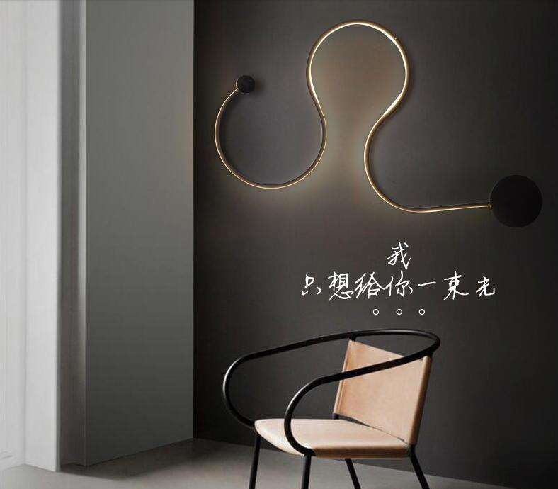 Postmodern simple creative wall light led bedroom bedside decoration Nordic designer living room corridor hotel wall lamps stylish simple letters pattern wall sticker for bedroom livingroom decoration