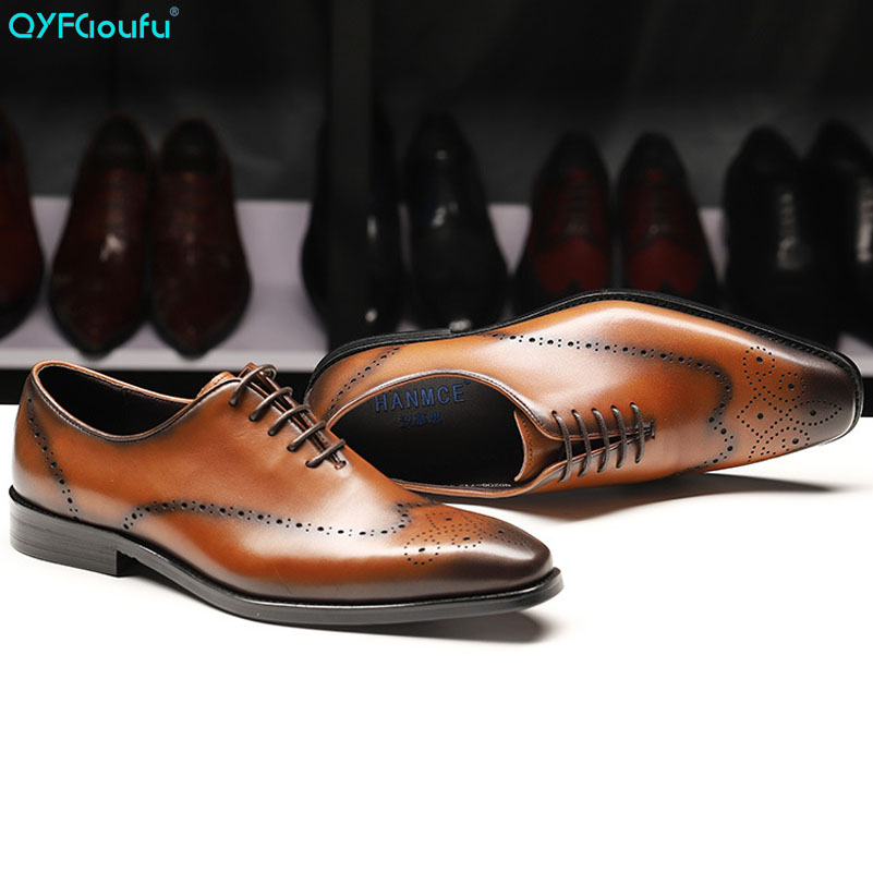 QYFCIOUFU New Luxury Men Lace Up Shoes Oxford Genuine Leather Men 39 s Dress Shoes Business Flat Shoes Men 39 s Banquet Wedding Shoes in Formal Shoes from Shoes