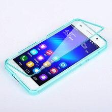 Huawei Honor 6 Чехол Флип Силиконовые ТПУ сенсорный экран Прозрачная крышка Huawei Honor6 Coque Fundas Полный протектор сумка случаях Carcasa 5.0″