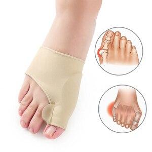 Image 2 - 2 pçs = 1 par dedo do pé separador hallux valgus bunion corrector orthotics pés osso polegar ajustador correção pedicure meia alisador