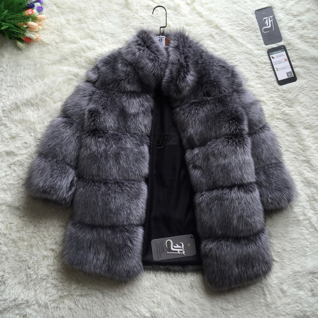 FF Brand Fur Coat Winter Fashion Women Faux Fox Fur Coat Stand Collar Furry Woman Fake Fur Jacket Luxury Long Fur Coat Jacket