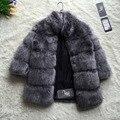 FF Marca Imitación de Las Mujeres de Moda de Invierno Abrigo de Piel Abrigo de piel de Zorro soporte de Cuello Peludo Mujer Chaqueta De Piel Falsa de Lujo Abrigo de Piel Largo chaqueta