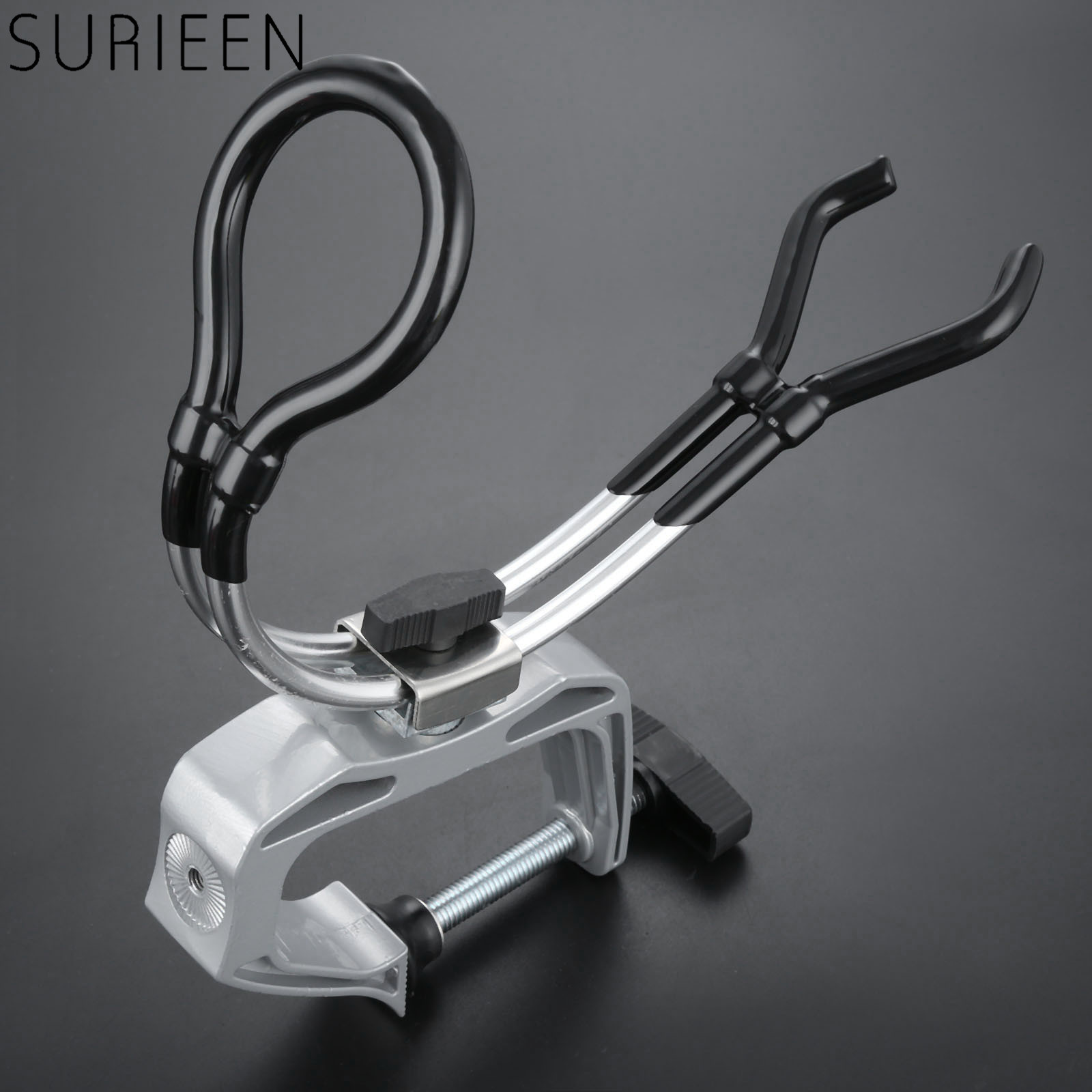 SURIEEN Boat Marine Fishing Rod Holder Aluminium Fish Rod Pole Stand Bracket Support Holder Adjustable Clamp Fishing Tackle Tool