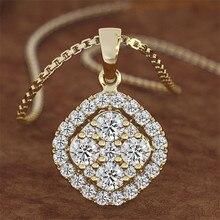 Collier en argent s925 avec pendentif en diamant de 2 carats, carré, couleur or 14K, calcédoine, Bizuteria, bijoux pour femmes, chaîne, joyas