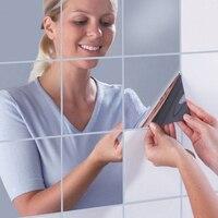 15 cm de ancho 16 unids cuboide reflectante espejo mosaico espejo de plata pegatinas pegar fijadas Decoración Del Hogar Del Espejo Pegatinas