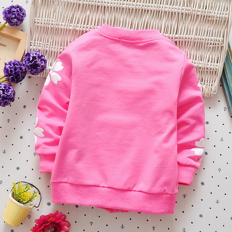 DIIMUU Toddler Baby Girls Clothing Kids Girl Casual Clothes Aqqlique Flower Tops Children Cute Cardigan Zipper Coats 53005 1