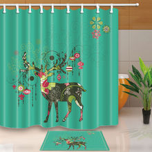 WARM TOUR Colorful Reindeer Shower Curtain Bathroom Fabric