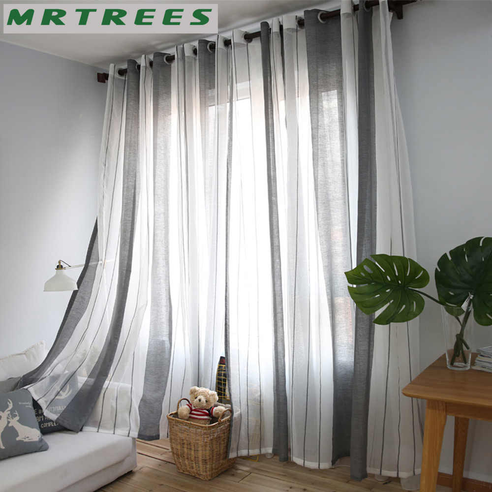Stripe Sheer Curtains for Living Room Bedroom Tulle Curtains for the Kitchen Modern Fabric for Window Treatment Drapes Curtains