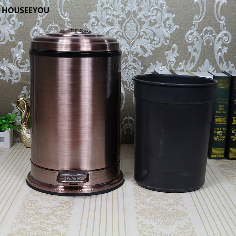 Two Sizes Wearable Garbage Antique Waste Bin Household Kitchen Sealed Metal Trash Can Creative Stainless Steel