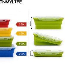 INMYLIFE 1 шт. Силиконовые Складные Ланч-Коробки Портативный складная чаша eco-friendly Еда обеденный контейнер 350/500/800/1200 мл