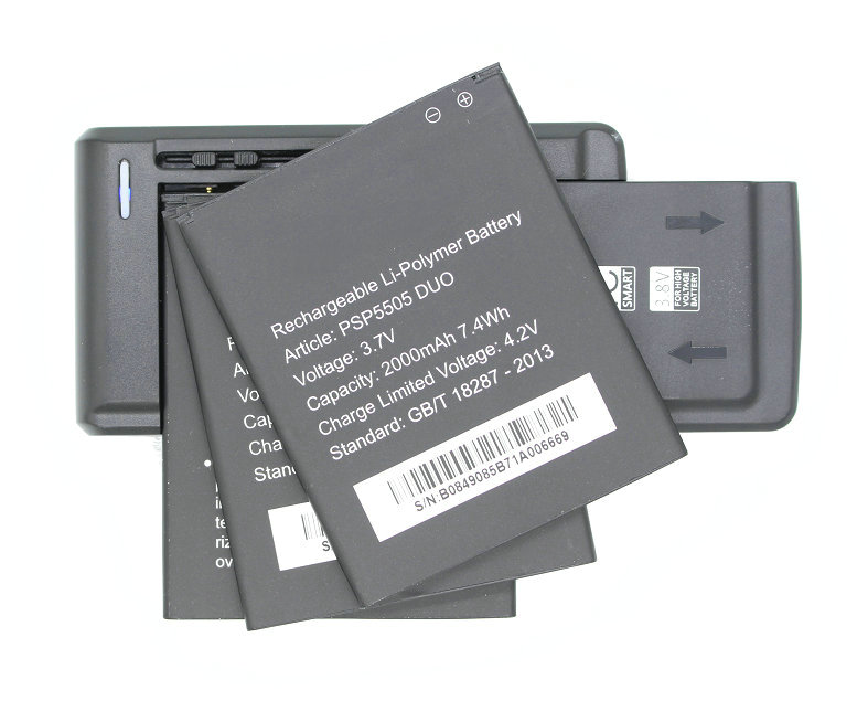 Seasonye 3x 2000mAh / 7.4Wh PSP5505 DUO Replacement Battery + Universal Charger For Prestigio MultiPhone PSP 5505 DUO + Track NO