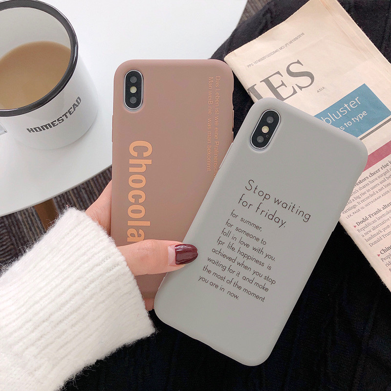 Art Letter Solid color Korean Phone Case For iPhone 7 7 Puls 6 6S 7 8 Puls X XR XS Max Cases Retro Soft Silicon Cover Coque