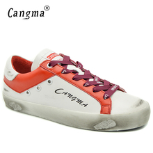 CANGMA Italian Designer Casual Vintage Flat Shoes Woman's Bass White Orange Women Sneakers Footwear Female Genuine Leather Shoes