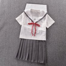 Japanese High-end sailor suit Summer Neck cat embroidery Short sleeve suit