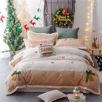 4pcs Luxury Egypt cotton Satin Sanding Christmas Bedding set Lambswool edge Duvet cover set Bedsheet Pillowcases Queen King size