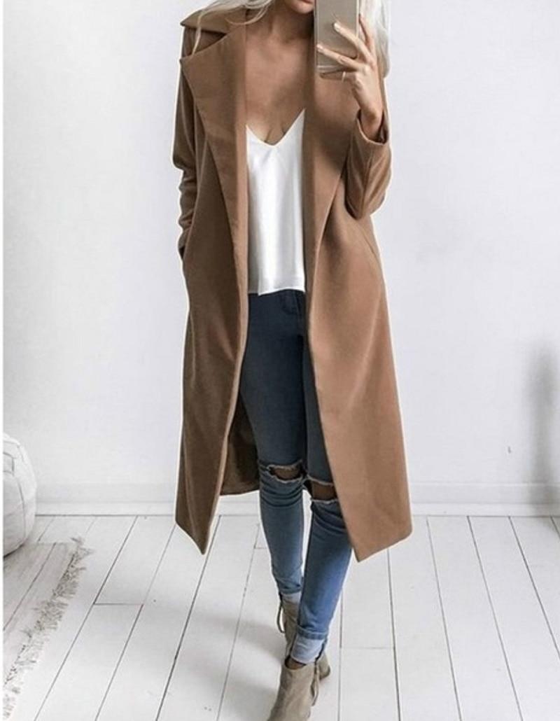 Lichtblauwe Winterjas.Winterjas Vrouwen Brede Revers Riem Pocket Wol Blend Jas Oversized