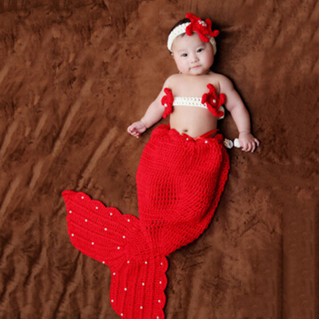 Newborn Mermaid  Tail Knitted Crochet Clothes Sweater Headwear/Hat /Corsage Fishtail Fotografias For Bebe Infant Baby Boy/Girl