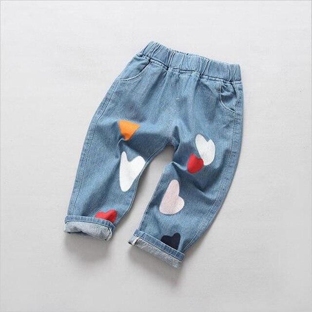 Новый печать высокого качества весна девушка носить брюки мода джинсы малышей детей джинсы брюки платье baby boy/девушка