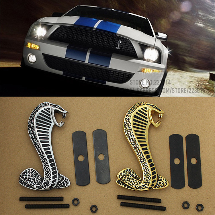 3D Mustang Cobra Snake Metal Emblem Car-Styling For Ford Mustang Front Grille car badge sticker Full of arrogance auto chrome camaro letters for 1968 1969 camaro emblem badge sticker