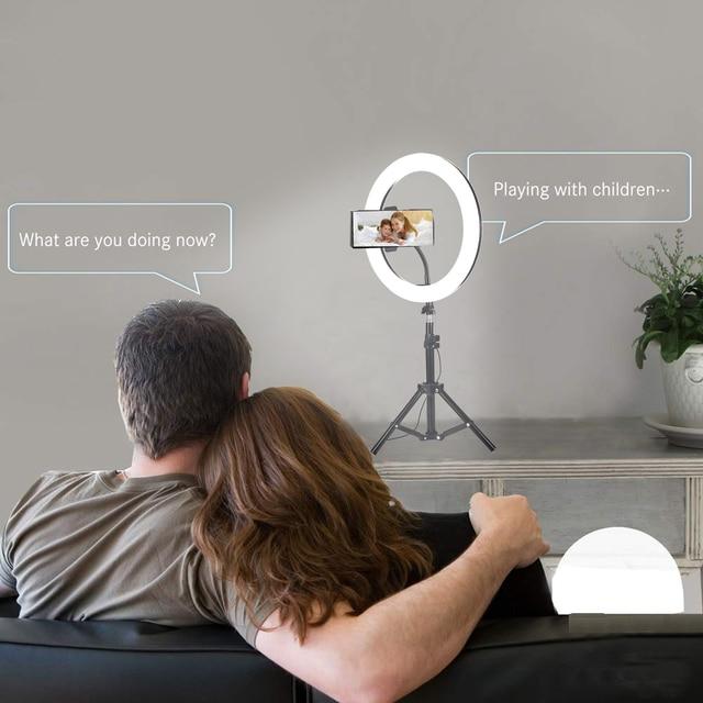 Lumière danneau de LED avec support de trépied pour YouTube vidéo beauté Table de maquillage lampe de bureau Mini lumière de caméra LED 3 support pour téléphone