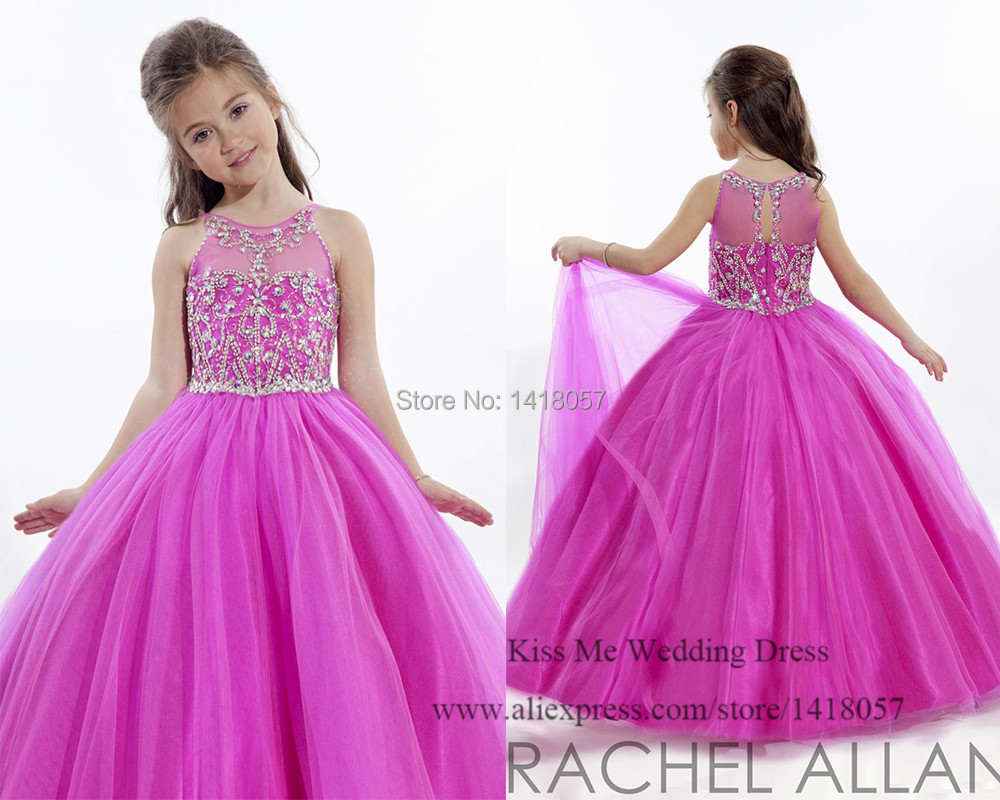 Princesa 2015 púrpura dama de honor Junior Vestidos Crystal bata de ...