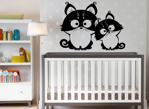 Leuke Babykamer Muurstickers : Twee grappige uilen leuke muursticker baby kinderkamer thuis art