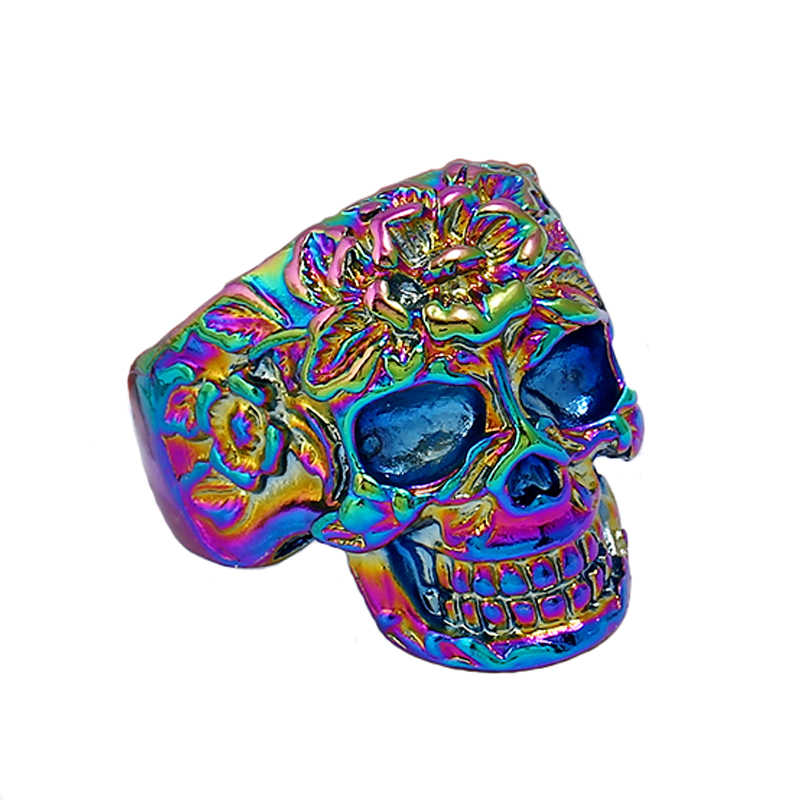 New fashion gold silver colorful men's stainless steel punk style gothic ring skull ring attractive skull ring
