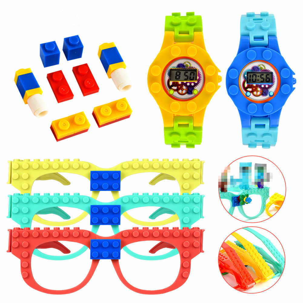Legoed นาฬิกาและแว่นตา buliding ชุด Baseplate Minecrafted MINI Figures อิฐ DIY ของเล่นเพื่อการศึกษา