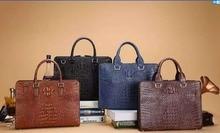 Men's Genuine Alligator Skin Leather Business Briefcase Bag, 100% Genuine/Real Crocodile Skin Leather Men Laptop Bag