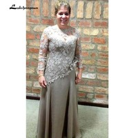 Lace Long Sleeve Mother of the Bride Dresses Elegant Groom Mother Dress A Line Chiffon Wedding Party Dresses